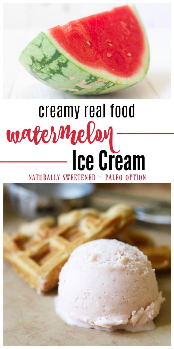 Creamy Real Food Watermelon Ice Cream is the perfect summer treat! This refreshing ice cream is naturally sweetened and simply delicious. | Recipes to Nourish | Gluten-free desserts | Real Food treats | Frozen treats | Dairy-free ice cream | Paleo ice cream | Healthy treats | Summer treats || #icecream #frozentreats #realfood #dessertrecipes
