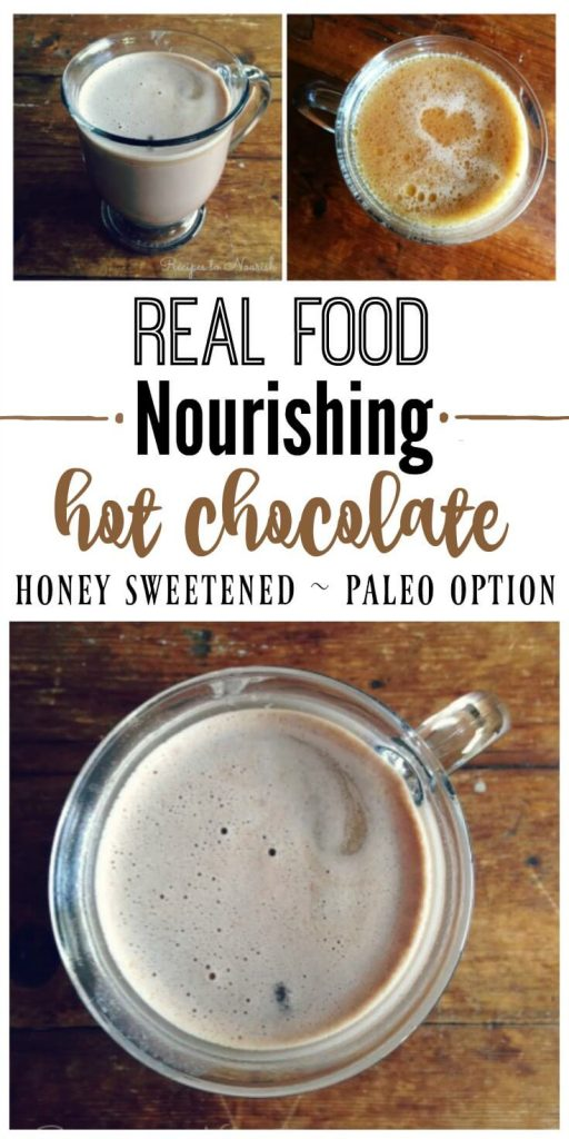 Nourishing Honey Sweetened Hot Chocolate is chocolaty and comforting like the old fashioned kind we all grew up with. This version has lots of optional, wholesome and healthy add-ins. | Recipes to Nourish