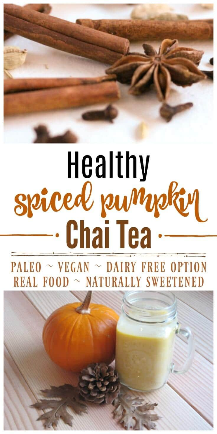 Creamy, spicy and simply divine! This Healthy Spiced Pumpkin Chai Tea is caffeine free, has lots of fresh ginger, a delicious blend of spices, is naturally sweetened and has Paleo and vegan options. | Recipes to Nourish // Gluten Free | Dairy Free | Fall Drinks