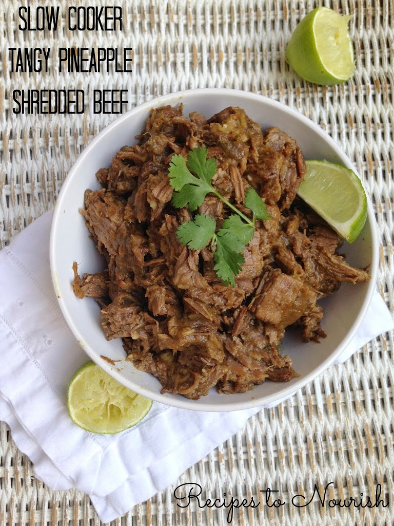 Sweet and savory, this slow cooker tangy pineapple shredded beef is so easy to make. Real food goodness - no processed ingredients and no refined sugars! | Recipes to Nourish #slowcooker #shreddedbeef #glutenfree