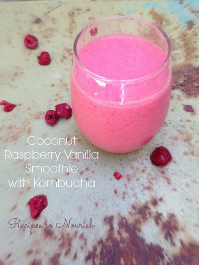 Coconut Raspberry Vanilla Smoothie with Kombucha | Recipes to Nourish