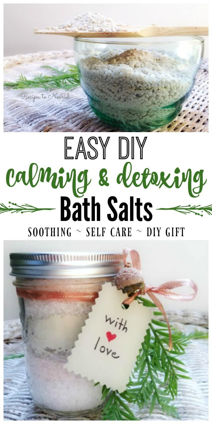 DIY Calming & Detoxing Bath Salts ... everyone needs a little extra pampering, these bath salts help soothe the body + detox too. | Recipes to Nourish // Self Care | DIY Gifts | Holiday Gifts | Holiday Gift Ideas | DIY Holiday Gifts | Natural Body Care | Natural Living | Natural Skin Care