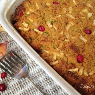 Homemade Cornbread Stuffing with Apples, Cranberries and Thyme {Gluten Free}