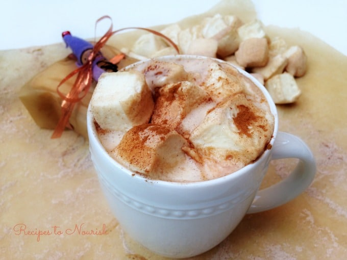 Mug of hot chocolate topped with homemade marshmallows dusted with cinnamon.