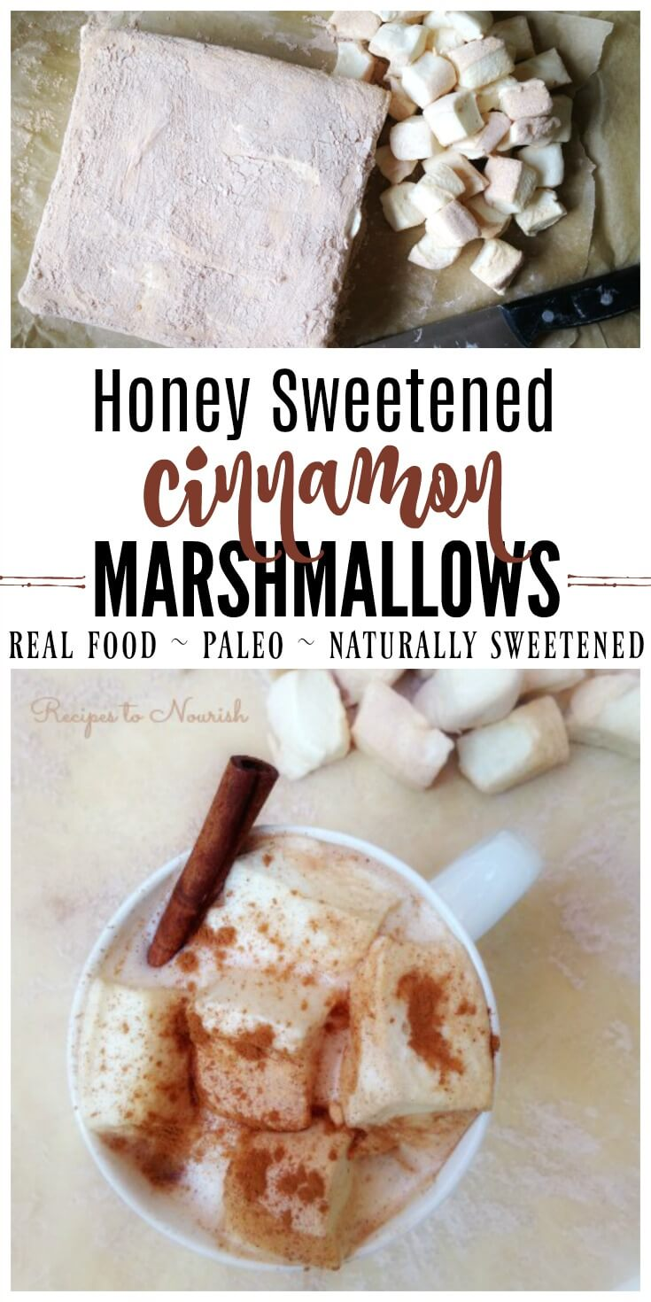 Homemade Honey Sweetened Cinnamon Marshmallows are nostalgic plus simply delicious! These real food marshmallows are so easy to make, delicious on hot chocolate and make a perfect holiday gift! | Recipes to Nourish // Paleo | Gluten Free | Primal | Naturally Sweetened