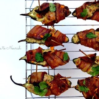 Bacon Wrapped Cilantro Cream Cheese Stuffed Jalapeños