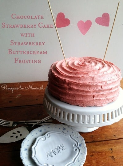 Chocolate Strawberry Cake With Buttercream Frosting