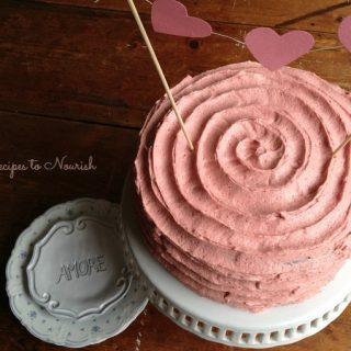 Chocolate Strawberry Cake with Strawberry Buttercream Frosting