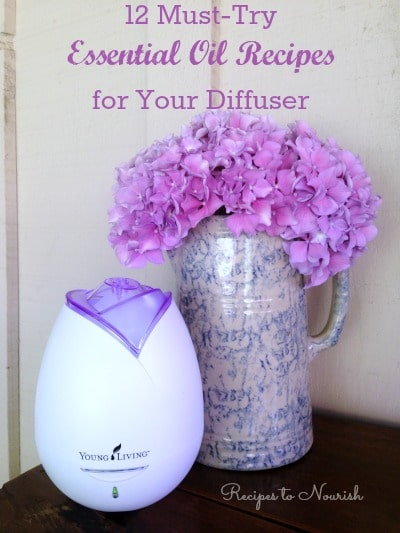 12 Must-Try Essential Oil Recipes for Your Diffuser ... essential oils diffuser and hydrangea flowers.