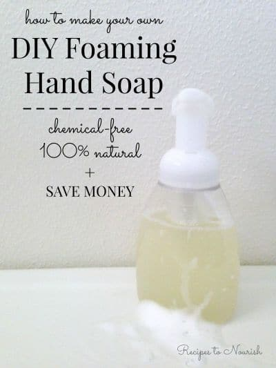 Money Saving DIY Foaming Hand Soap ... making your own hand soap is so easy! This recipe only has 4 ingredients, it's safe and gentle, 100% all natural + organic. | Recipes to Nourish