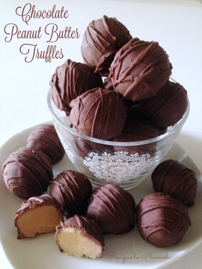 Bowl of chocolate peanut butter truffles.