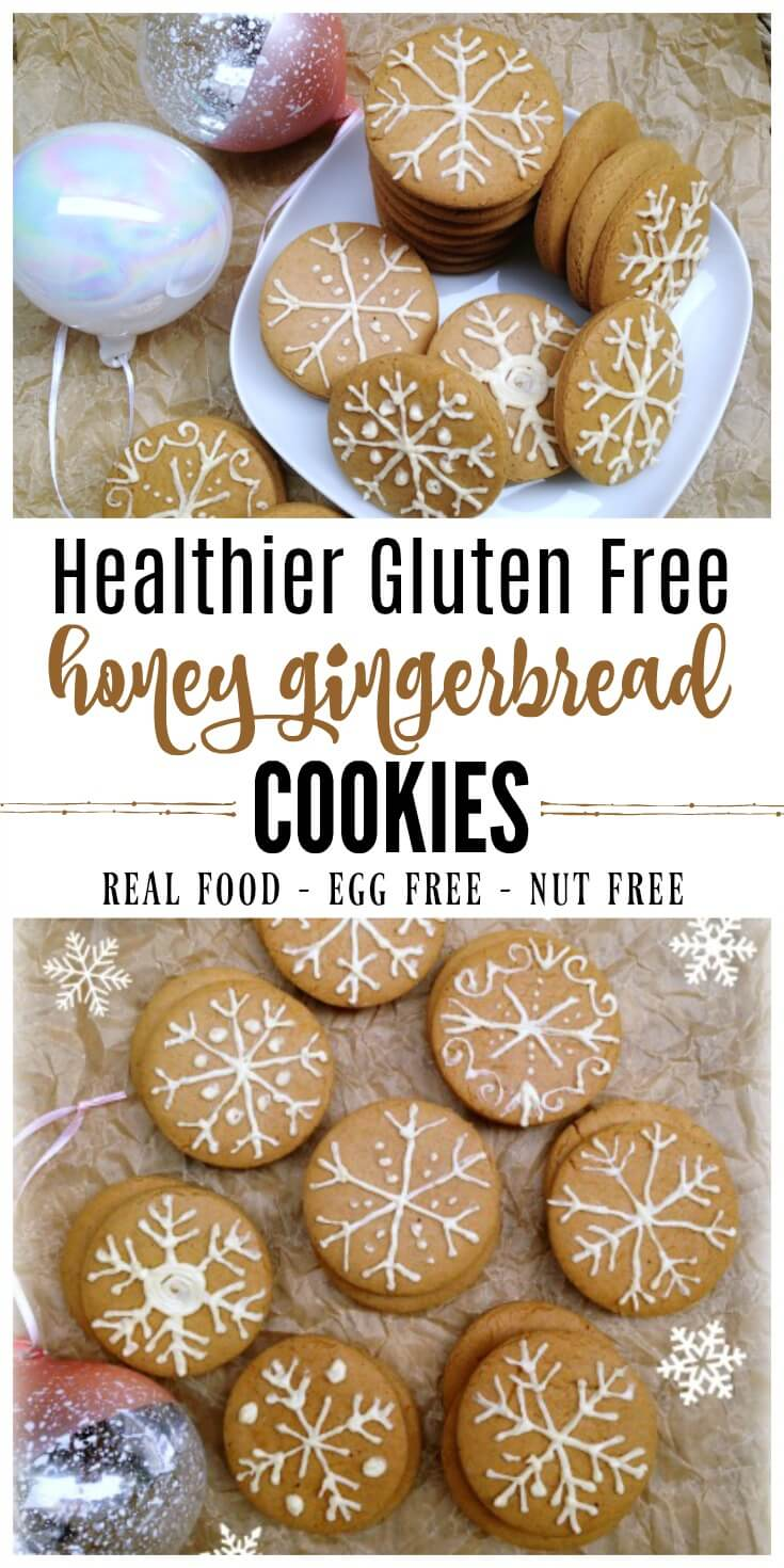 These Gluten Free Honey Gingerbread Cookies are delicious, soft and chewy cookies and perfect for the holidays! The recipe is similar to the nostalgic cookie from The Nut Tree. They're molasses-free, nut-free and egg-free too! | Recipes to Nourish // #gingerbreadcookies #glutenfree #allergyfriendly #christmascookies #eggfree