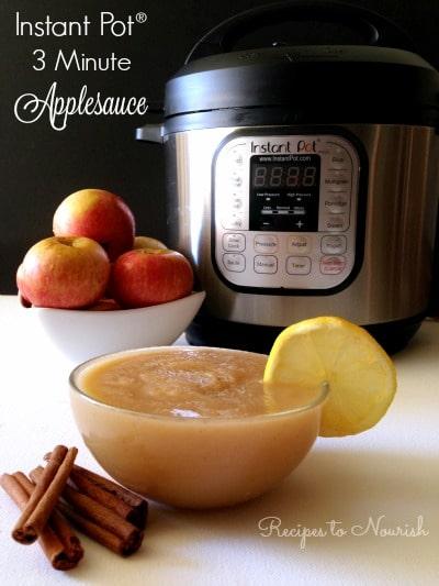 Applesauce with lemon, cinnamon sticks, organic apples and an Instant Pot pressure cooker.
