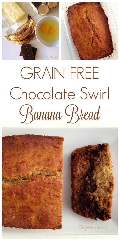 Grain Free Chocolate Swirl Banana Bread ... melted chocolate adds a rich, delicious layer to this classic real food quick bread. | Recipes to Nourish