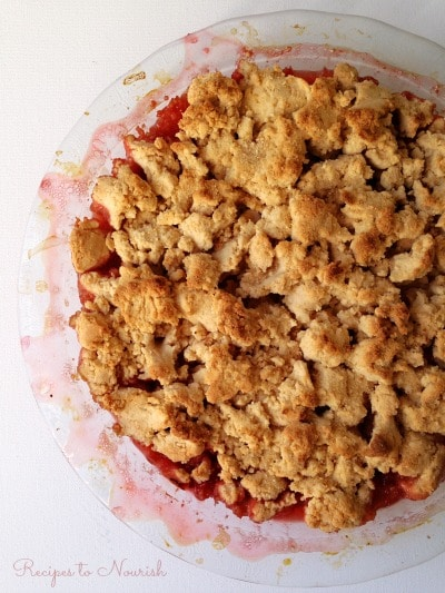 Grain Free Strawberry Rhubarb Cobbler ... this springtime cobbler is full of sweet berries, tart rhubarb and topped with delicious, golden brown, grain free biscuit crumble. | Recipes to Nourish
