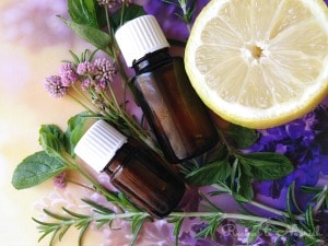 Essential oils, herbs, lemon and flowers.