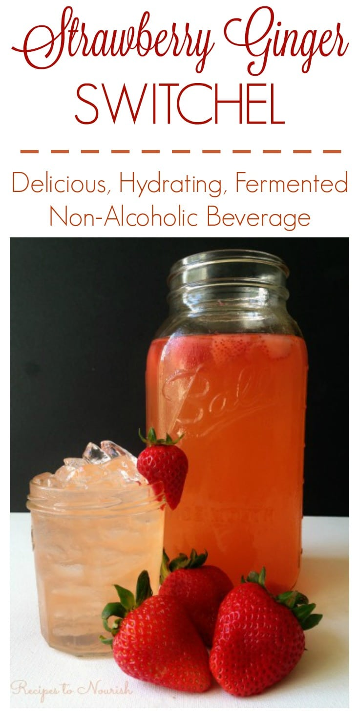 Strawberry Ginger Switchel is a delicious, refreshing, easy-to-make fermented beverage. | Recipes to Nourish | Healthy beverages | Healthy drinks | Fermented drinks | Fermented beverages | Easy beverages | Non-alcoholic beverage | Summer beverages || #healthybeverages #fermentedbeverages