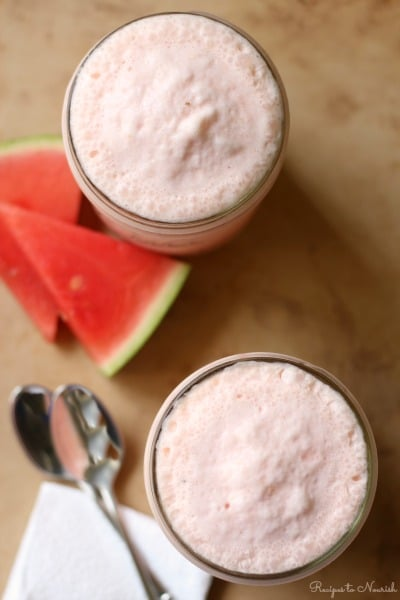 Simply sweet and creamy, this luscious Watermelon Milkshake is the perfect, refreshing treat on a hot summer day. {Real Food, Primal, Dairy Free Option}   Recipes to Nourish