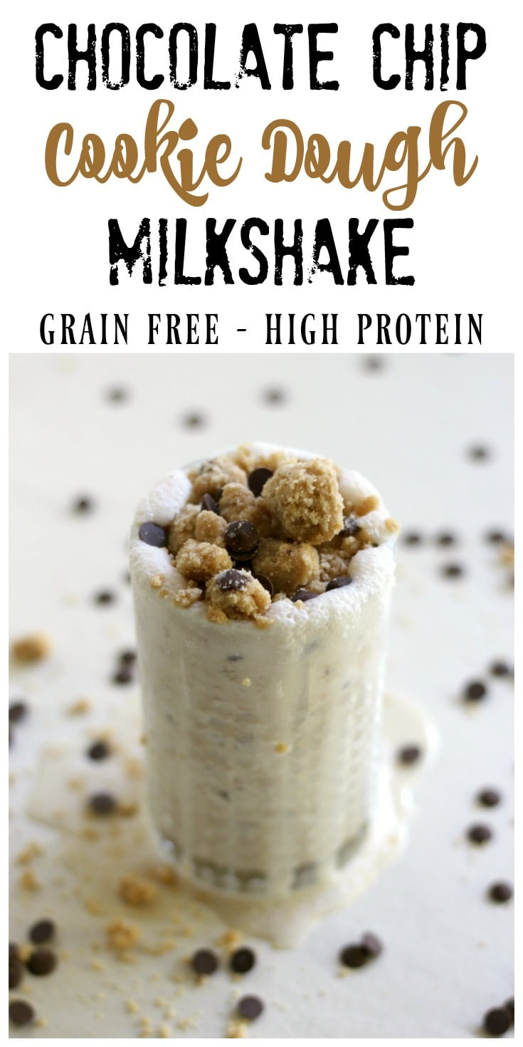 Grain free chocolate chip cookie dough mixed into a homemade vanilla milkshake is out of this world, crazy good! This delicious, high protein, real food milkshake is the perfect afternoon treat or special dessert.   via Recipes to Nourish // Grain Free Recipe   Gluten Free Recipe   Healthy Milkshakes