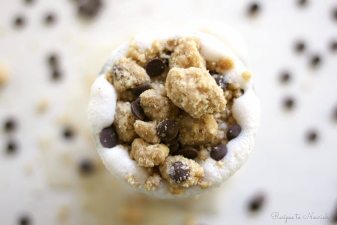 This Grain Free Chocolate Chip Cookie Dough Milkshake is out of this world! Full of protein, this real food milkshake is the perfect extra special treat.   Recipes to Nourish
