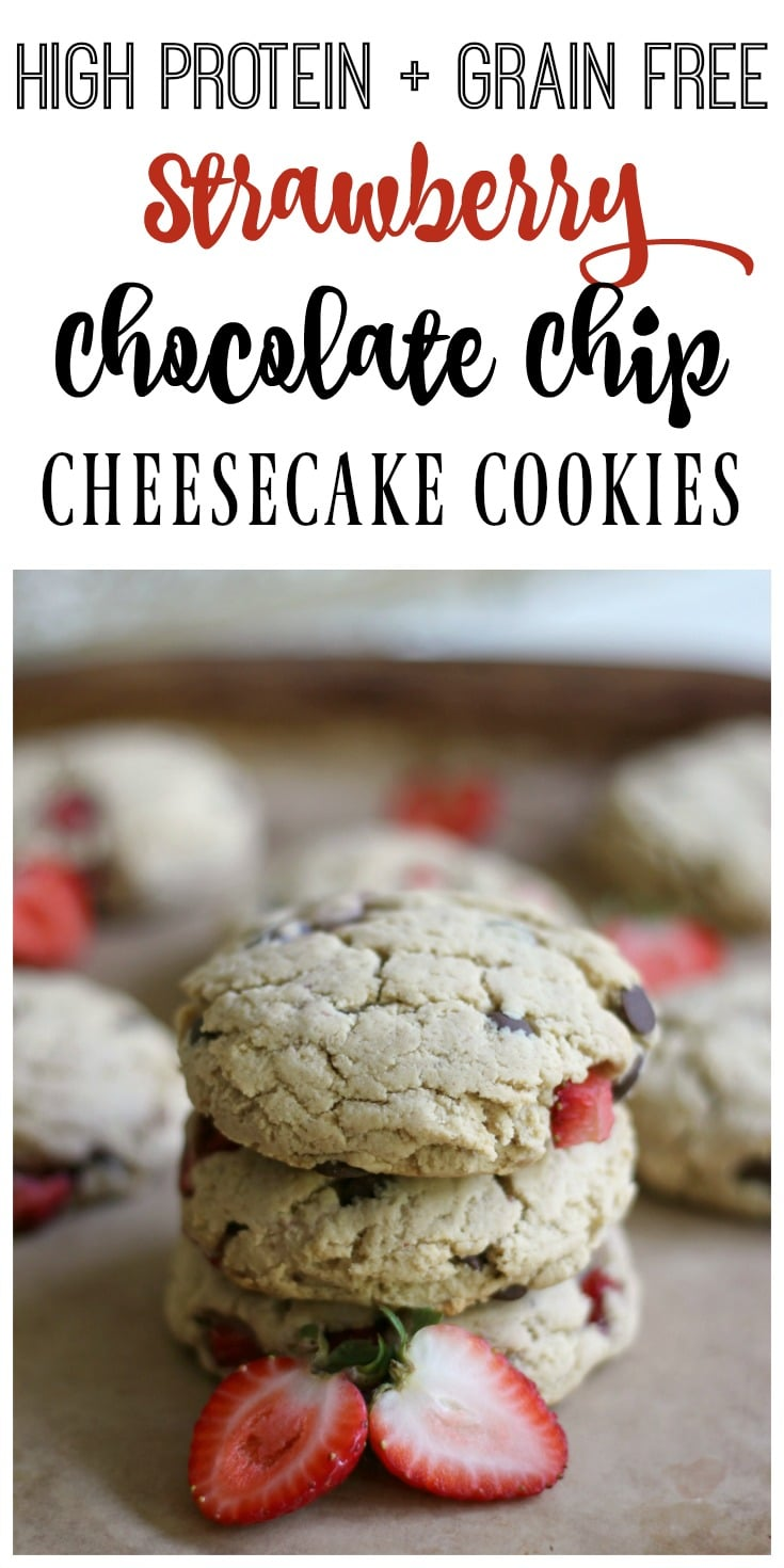These high protein, grain free, real food Strawberry Chocolate Chip Cheesecake Cookies are so soft and delicious! They're the perfect comfort food treat!| Recipes to Nourish // Grain Free Recipes | Grain Free Cookies | Grain Free Cookie Recipes | Gluten Free Recipes | Gluten Free Cookies | Gluten Free Cookie Recipes | Grain Free Chocolate Chip Cookies | Gluten Free Chocolate Chip Cookies