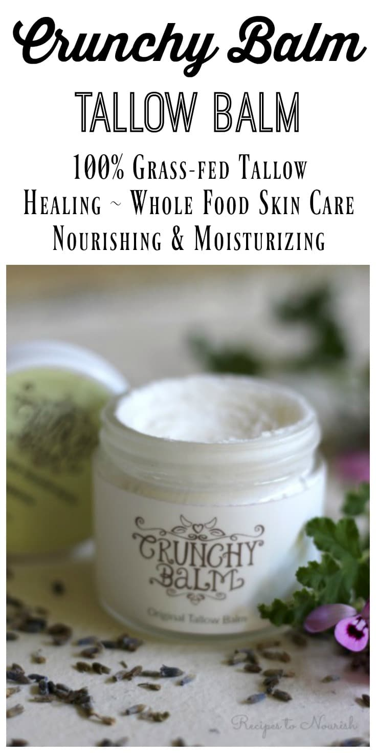(ad) Crunchy Balm Tallow Balm Skin Care is THE best natural addition to your daily routine. This healing, whole food,nourishing balm is better than any store-bought lotion or cream.   Recipes to Nourish