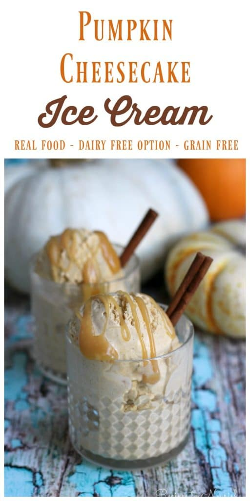 Scoops of ice cream in glasses with caramel sauce and cinnamon sticks next to pumpkins.