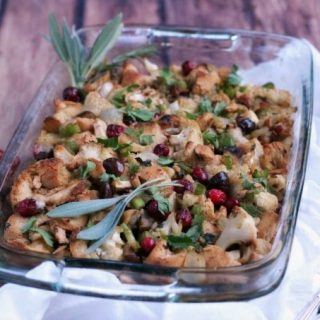 Roasted Cauliflower Cranberry Gluten Free Stuffing