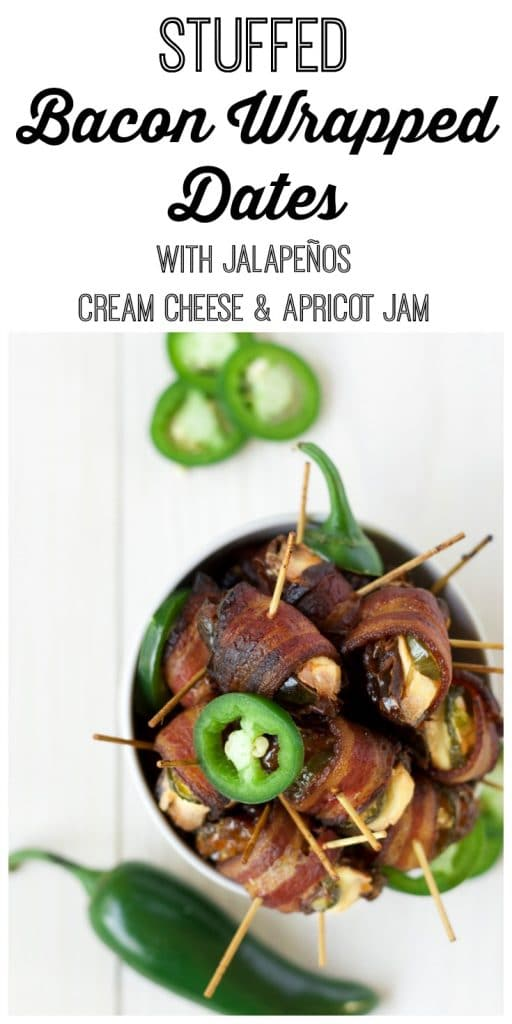 Bowl of stuffed bacon wrapped dates with cream cheese and jalapeño slices.