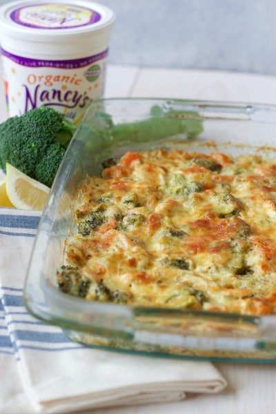 Cheesy chicken broccoli casserole with Nancy's brand organic whole milk yogurt, fresh broccoli and lemon.