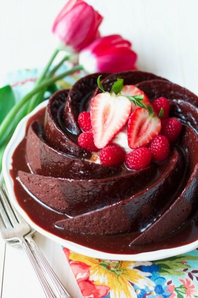 There's nothing better than a perfect, moist, Healthy Grain Free Chocolate Cake! This swoon-worthy, delicious cake is so easy to make and made with real food, Paleo-friendly ingredients. | Recipes to Nourish