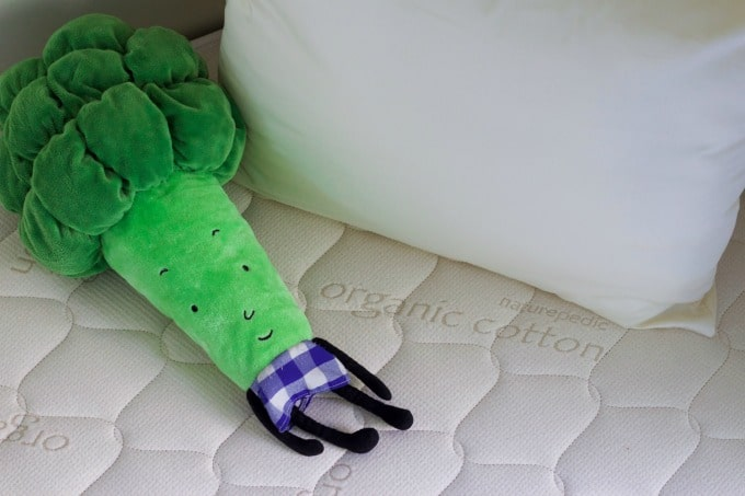 Organic mattress with pillow and broccoli stuffed animal.