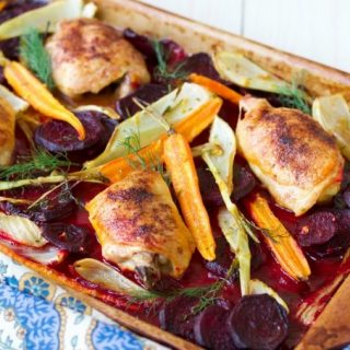One Pan Citrus Beets Roasted Chicken