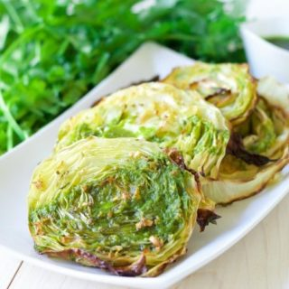 Garlic Rosemary Roasted Cabbage Steaks {with Chimichurri}