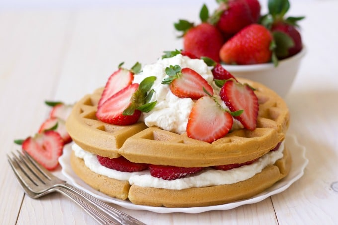 (Ad) Grain free Strawberry Shortcake Waffles are the most delicious way to enjoy breakfast! These healthy, real food waffles are packed with protein, loaded with good-for-you fats and overflowing with beautiful, juicy, sweet strawberries. | Recipes to Nourish