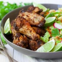 30 Minute Moroccan Chicken Wings with Sesame-Bok Choy Slaw & Cashews