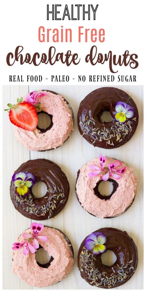 (Ad) There's nothing more fun than healthy, Grain Free Chocolate Donuts for breakfast! These delicious, soft and chocolaty real food donuts are baked to perfection and made with wholesome ingredients. They're Paleo friendly, nut free and have no coconut flour too! // Recipes to Nourish // Paleo Donuts | Grain Free Donuts | Cassava Flour Donuts | Paleo Recipes | Healthy Donuts //