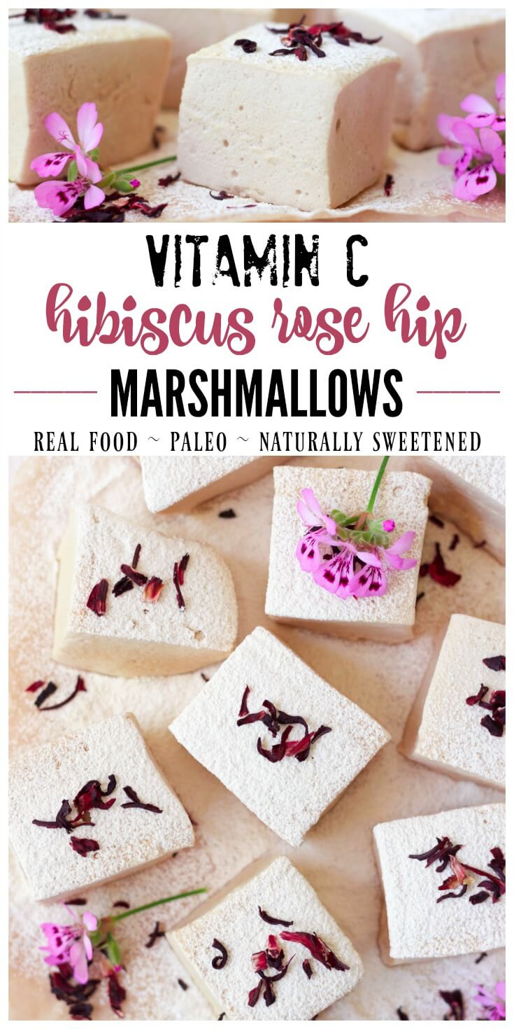 There's nothing moreirresistible than homemade, real food marshmallows. These Vitamin C Hibiscus Rose Hip Marshmallows arenaturally sweetened and Paleo friendly. Super fluffy andsweet with a delicate herbal flavor, these easy to make, light pink marshmallows are also packed with a vitamin C boost. | Recipes to Nourish // Paleo Marshmallows | Paleo Dessert Recipes | Healthy Marshmallow Recipes | Real Food Marshmallows | Gluten Free Recipes | Summer Dessert Recipes | Grain Free Recipes