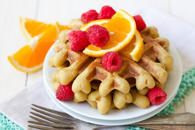 (ad) These healthy Paleo Orange Vanilla Waffles are packed with wholesome, real food ingredients and lots of protein. With hints of sweet orange and vanilla, these delicious waffles are easy to make in the blender and are freezer friendly.| Recipes to Nourish