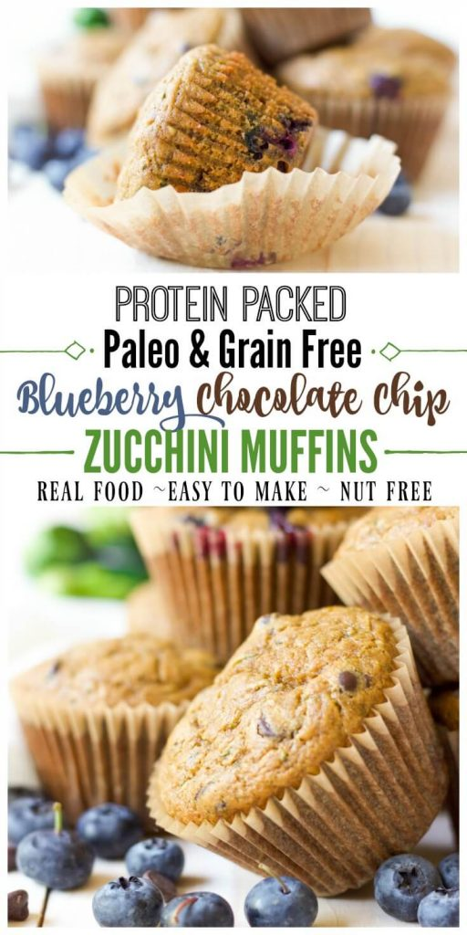 These delicious, grain free, Paleo Blueberry Chocolate Chip Zucchini Muffins are protein packed and great for snacking or on the go breakfast. They're brimming with juicy blueberries, gooey chocolate and jam-packed with zucchini. | Recipes to Nourish