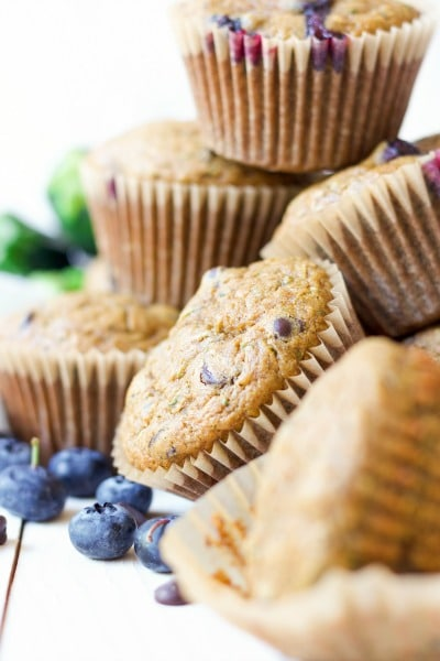 Muffins with chocolate chips, fresh blueberries and zucchini.