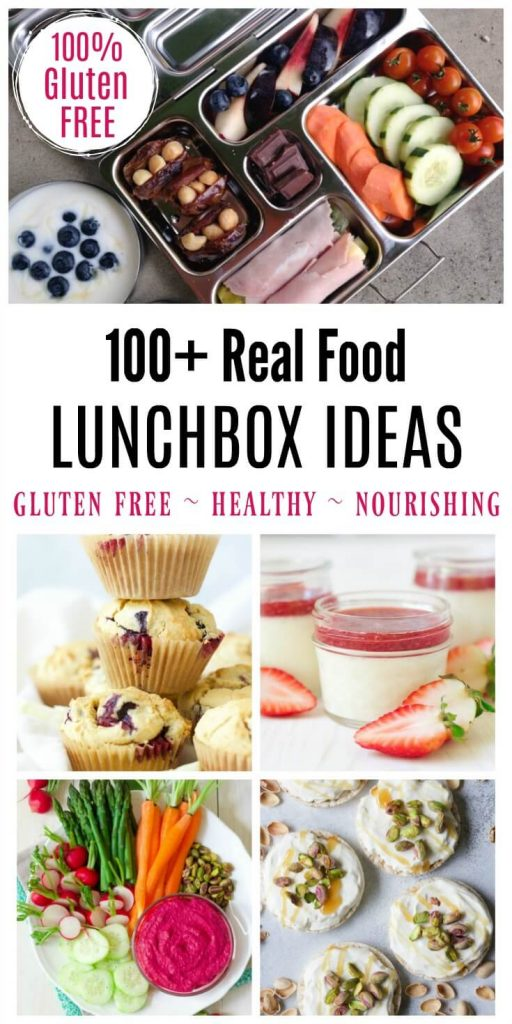 Eating on-the-go doesn't have to be complicated! Just stick to nourishing, unprocessed, real food! Need some inspiration? Here's over 100 Real Food Lunchbox Ideas to get you started! | Recipes to Nourish