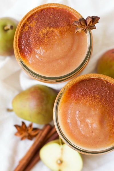 3 Minute Sugar Free Instant Pot Pear Applesauce is pure perfection! Skip the store-bought applesauce and enjoy this delicious, easy to make seasonal bliss instead. It's Paleo friendly, dairy free and can be flavored with chai spices or traditional sweet cinnamon. | Recipes to Nourish