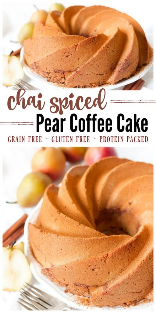 (ad) Grain Free Chai Spiced Pear Coffee Cake is the perfect treat for the cooler months and seasonal holidays. This heavenly coffee cake is soft with a moist crumb, deliciously spiced, packed with protein and brimming with a naturally sweetened crunchy topping. | Recipes to Nourish