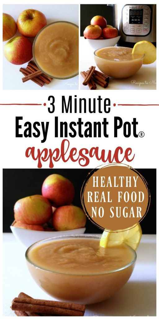 Instant Pot pressure cooker applesauce with organic apples and cinnamon.