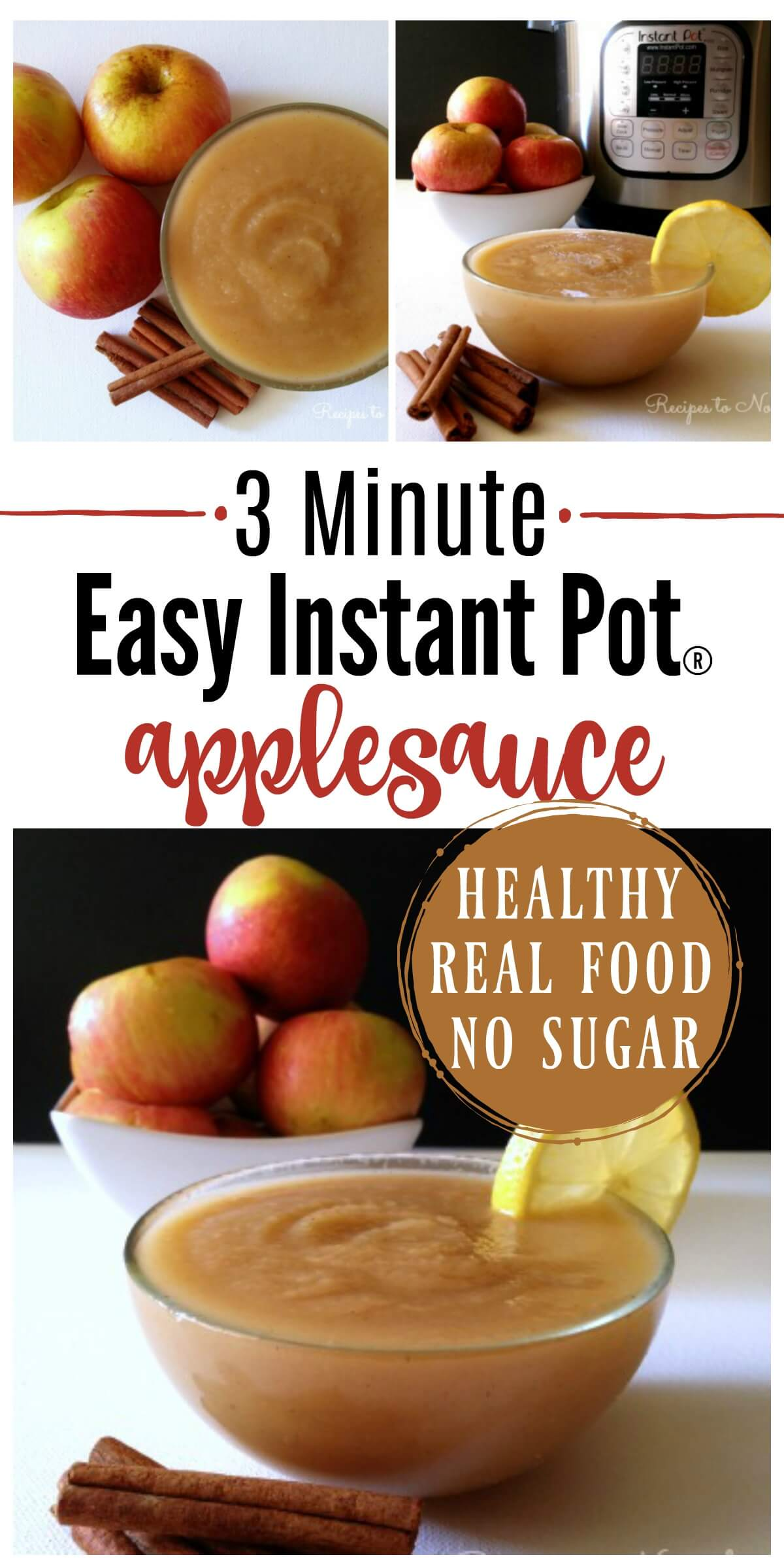 3 Minute Instant Pot Applesauce! If you love applesauce, you've got to try this method. It's absolutely delicious and comes out perfect every time. | Recipes to Nourish | Easy Instant Pot recipe | Real food recipes | Sugar-free applesauce | Healthy Instant pot recipes | Healthy snacks | Instant Pot snacks | Gluten-free recipe | Paleo snacks || #instantpot #healthysnacks #instantpotrecipes #applesauce #realfood #healthysnacks #easyrecipe