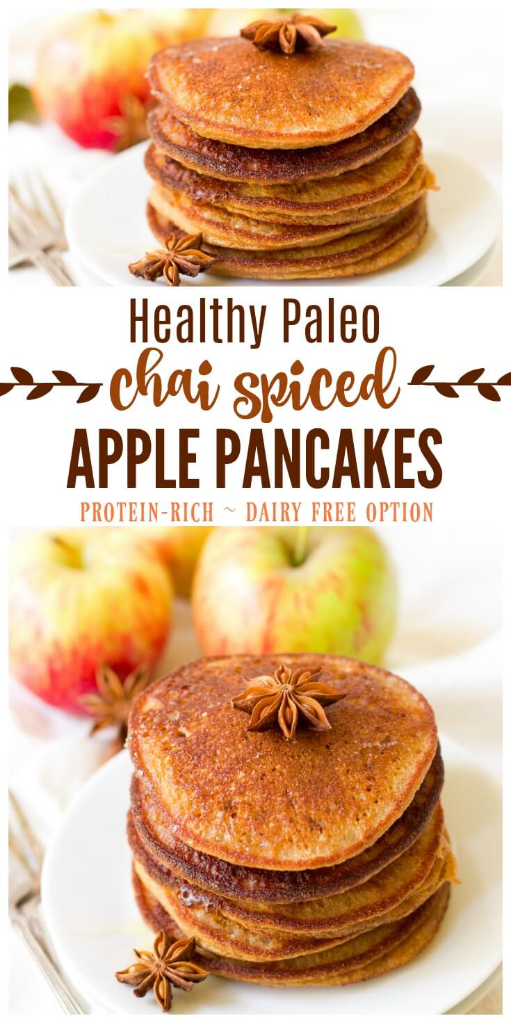 (ad) These healthy Paleo Chai Spiced Apple Pancakesare the perfect protein packed, fall-inspired breakfast. Full of flavor and wholesome ingredients, these pancakes are easy to make and can be made ahead of time and frozen for quick breakfasts. | Recipes to Nourish // Gluten Free | Grain Free | Allergy Friendly | Primal | Dairy Free | Real Food