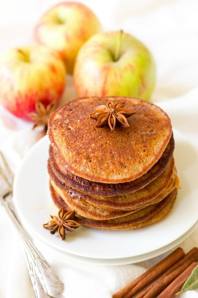 (ad) These healthy Paleo Chai Spiced Apple Pancakesare the perfect protein packed, fall-inspired breakfast. Full of flavor and wholesome ingredients, these pancakes are easy to make and can be made ahead of time and frozen for quick breakfasts. | Recipes to Nourish
