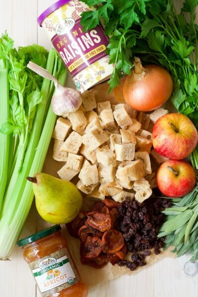 Stuffing ingredients - fresh celery, apples, pears, dried apricots, raisins, garlic, onion, gluten free bread cubes and herbs.