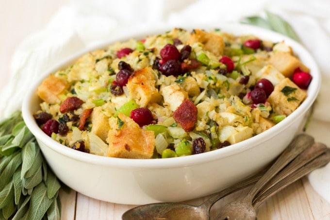 Gluten free stuffing with riced cauliflower, veggies, fruit and herbs.